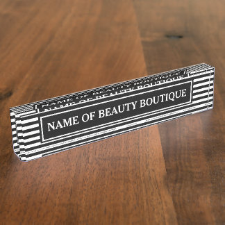 Trendy Black White Stripes Hair and Beauty Salon Name Plate