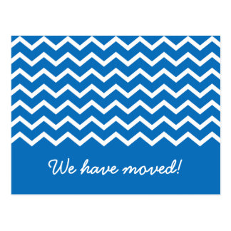 Trendy blue chevron pattern moving announcement postcard