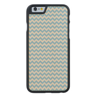 Trendy Blue Chevron Stripe Pattern Carved® Maple iPhone 6 Case