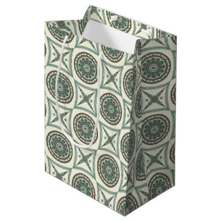 Trendy Blue Geometric Floral Medallion and Square Medium Gift Bag
