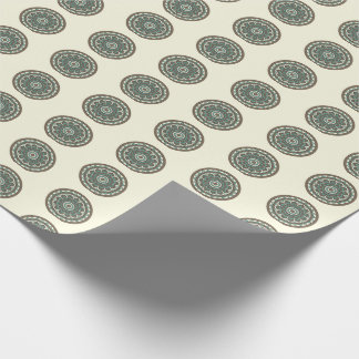 Trendy Blue Geometric Floral Medallion Gift Wrap