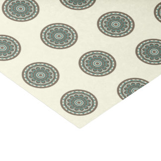 Trendy Blue Geometric Floral Medallion Tissue Paper