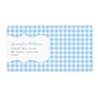 Trendy Blue Gingham Shipping Label