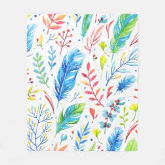 Trendy Blue-Orange Floral Boho Feather Pattern Fleece Blanket
