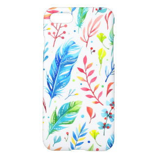 Trendy Blue-Orange Floral Boho Feather Pattern iPhone 8/7 Case