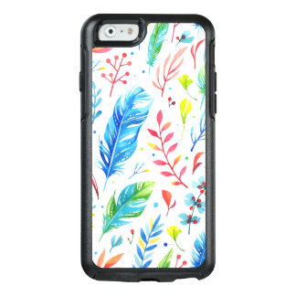 Trendy Blue-Orange Floral Boho Feather Pattern OtterBox iPhone 6/6s Case