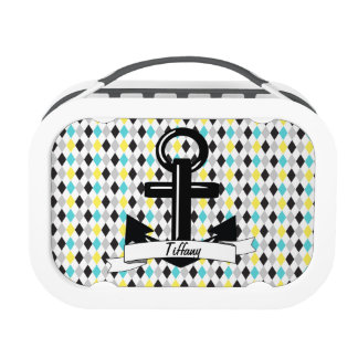 Trendy Blue & Yellow Diamond Personalized Anchor Lunch Box