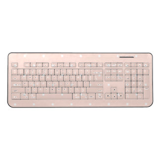 Trendy Blush Pink Polka Dots Wireless Keyboard