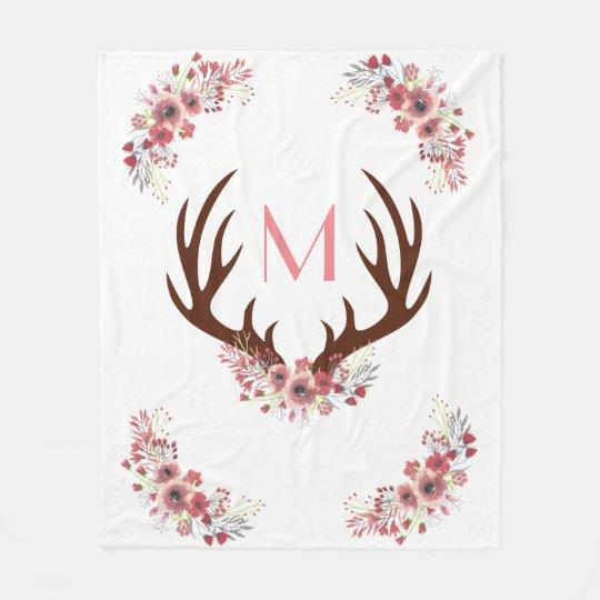 Trendy Bohemian Watercolor Flowers Deer Antlers Fleece