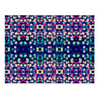 Trendy Bokeh Christmas Lights Funk Hipster Pattern Postcard