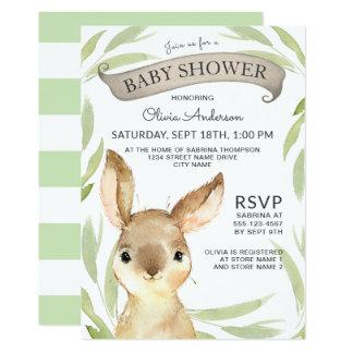 Trendy Bunny Rabbit Theme Baby Shower Card