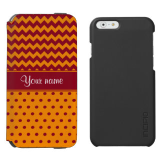 Trendy Burgundy Chevrons Tangerine Polka Dots Incipio Watson™ iPhone 6 Wallet Case