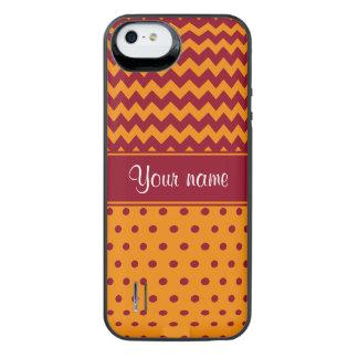 Trendy Burgundy Chevrons Tangerine Polka Dots iPhone SE/5/5s Battery Case