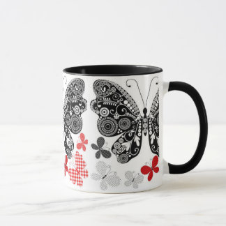 Trendy Butterflies Black White, And Red Mug