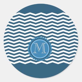 Trendy chevron blue monogram round sticker