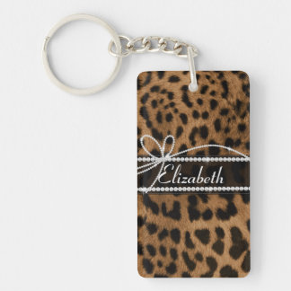 Trendy chic girly faux brown black leopard key ring