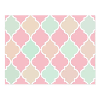 Trendy Chic Girly Pink Green Quatrefoil Pattern Postcard