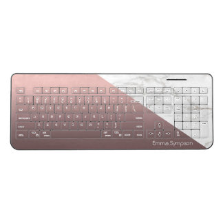 Trendy Chic White Marble Rose Gold Personalised Wireless Keyboard