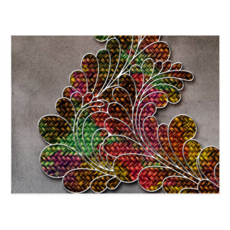 Trendy Colorful Swirly Floral Postcard