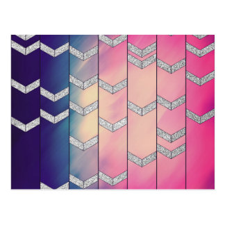 Trendy Colorful Watercolor Arrow Zig Zag Glitter Postcard