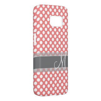 Trendy Coral and Gray Polka Dot Pattern Monogram