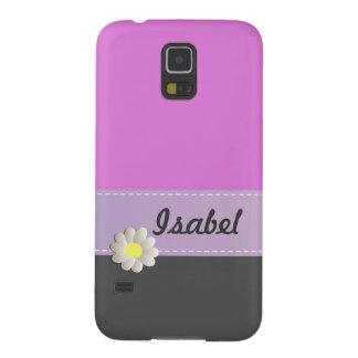 Trendy cute daisy pink gray galaxy s5 cases