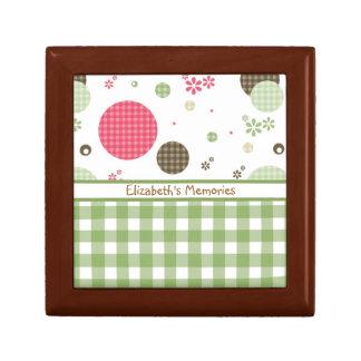 Trendy Cute Gingham Polka Dots With Name Gift Box