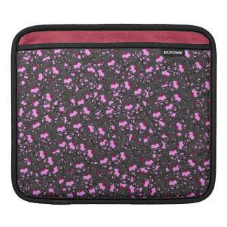 Trendy Cute Little Black Neon Pink Bears iPad Sleeve