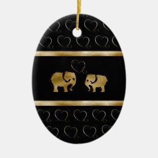 Trendy cute luxury  black /golden elephant in love christmas ornament