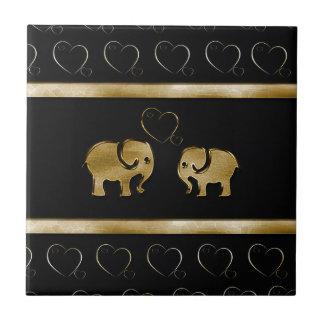 Trendy cute luxury  black /golden elephant in love tile