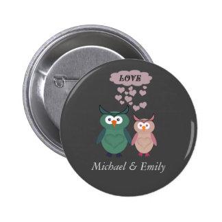 Trendy cute owl love couple 6 cm round badge