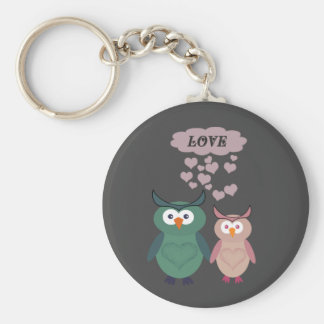 Trendy cute owl love couple basic round button key ring