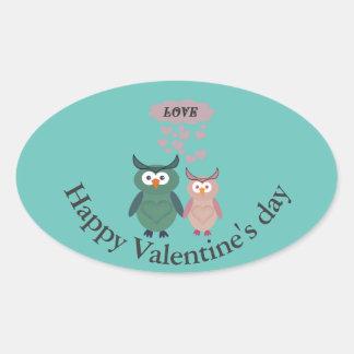 Trendy cute owl love couple oval sticker