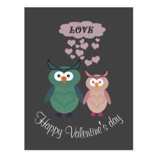 Trendy cute owl love couple postcard