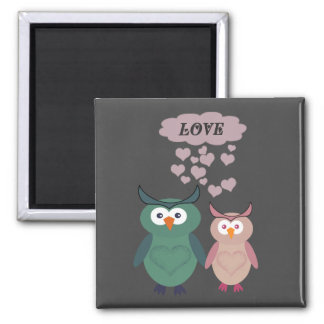 Trendy cute owl love couple square magnet
