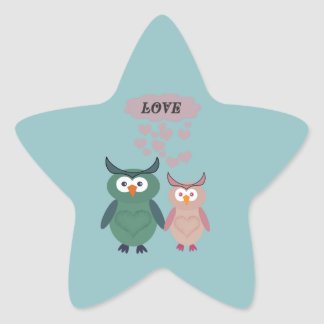 Trendy cute owl love couple star sticker