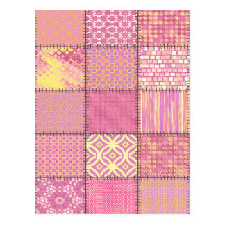 Trendy cute vintage elegant colorful patchwork postcard