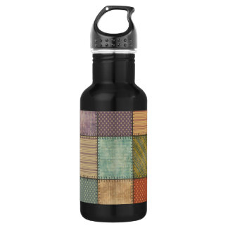 Trendy cute vintage retro colorful patchwork 532 ml water bottle