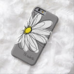 Trendy Daisy Floral Illustration - grey and yellow Barely There iPhone 6 Case