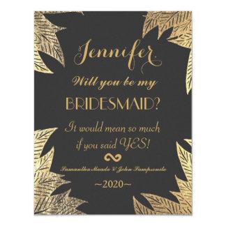 Trendy Elegant Gold Faux Drawn Leaf Pattern 11 Cm X 14 Cm Invitation Card