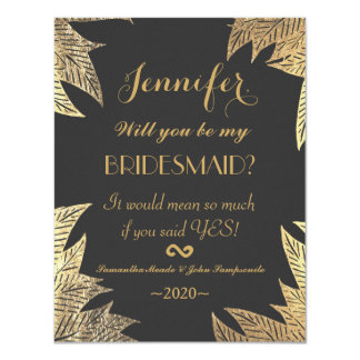 Trendy Elegant Gold Faux Drawn Leaf Pattern Card