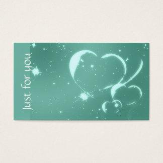 Trendy Emerald Green Romantic Hearts Business Card