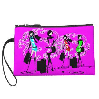 Trendy fashion french girls pink wristlet clutch