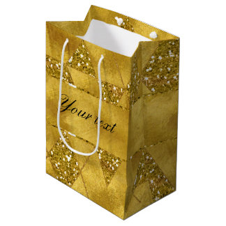 Trendy Faux Gold Glitter Triangles Medium Gift Bag