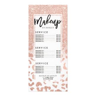 Trendy faux rose gold glitter leopard price list customised rack card