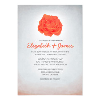 Trendy Floral Orange Wedding Invitations Cards