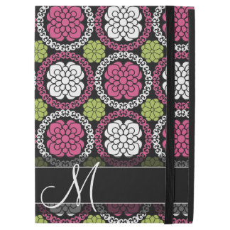 """Trendy Floral Pattern - Pink and Black iPad Pro 12.9"""" Case"""