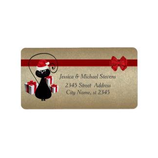Trendy funny gold holiday cartoon Santa cat Address Label