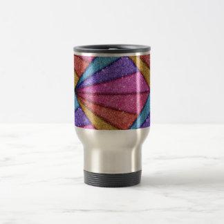 Trendy Geometrical Glitter Stripes Travel Mug