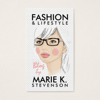 Trendy girl fashion illustration chic dots blogger business card